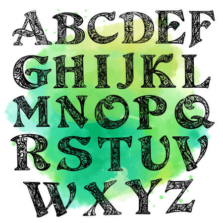 Vector Alphabet. Calligraphy font. Hand Lettering for Designs - badges, postcards, posters, prints. Modern brush handwriting Typography. Vectores
