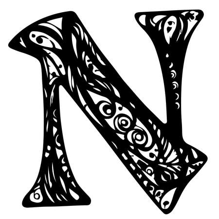 N letter logo in vintage western style. Vector font for labels, posters etc. Calligraphy, Typography, Monogram.