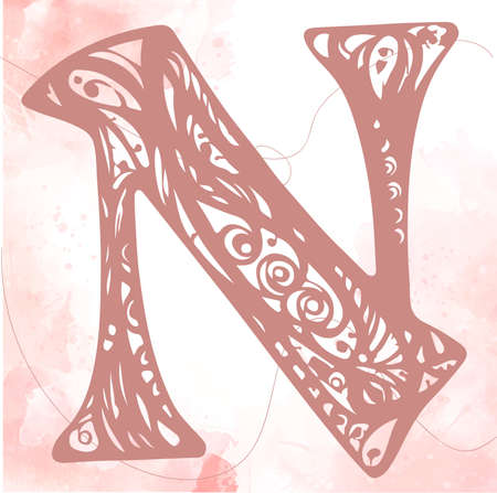 Letter N. Vector font for labels, posters etc. Calligraphy, Typography, Monogram. N letter logo in vintage western style. Vectores