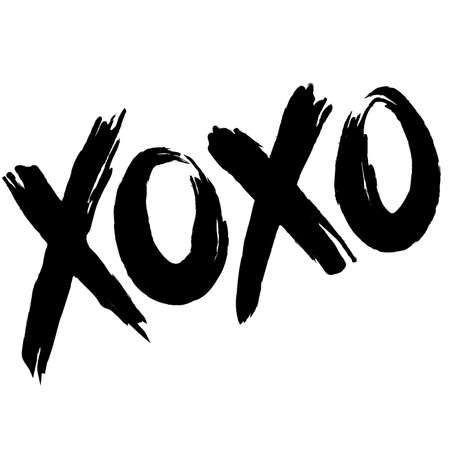 Xoxo vector fashion image. Label with glamour xoxo. Vogue beautiful xoxo. Isolated element on white background.