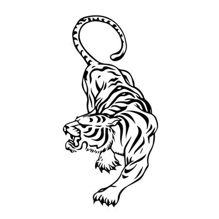 tiger black and white vector illustration isolated on white background Vectores