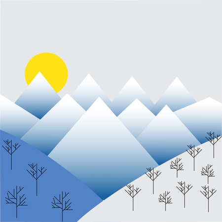 Winter mountains. Beautiful geometric illustration. landscape vector Vectores