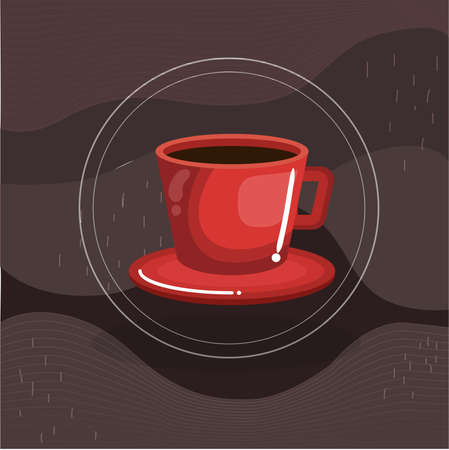 design poster red cup of coffee. vector illustration drinks for different parts of the day from dawn till dusk Vectores