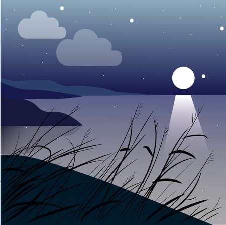 vector landscape with an islet in the lake in the evening and the mountains in the background. Vector banners set with polygonal landscape