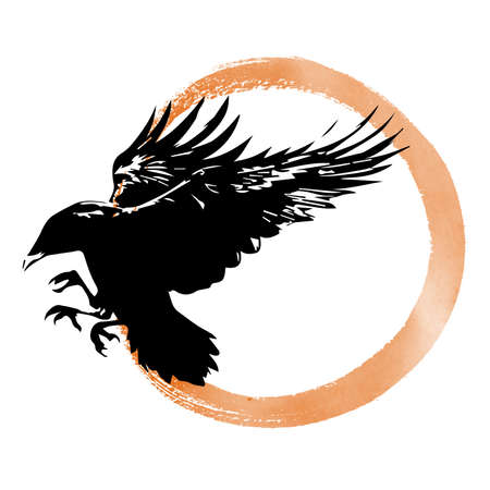 Hand drawn raven on sepia background vector illustration. Flying crows. Vector Ink Painting.