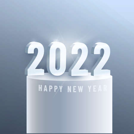 Happy New Year 2022. Number and rectangular frame. 3d vector sign and letter text. Celebrate the 2022 party. Christmas posters, banners, cover cards, brochures, flyers.