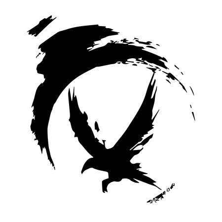 Raven painted in ink. Flying Crows. Grunge. Silhouette of a crow on a light background. Brush stroke and texture. Vector design.