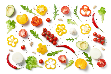 Different herbs and vegetables isolated on white background. Copy space. Healthy eating background. Food photography. Top view