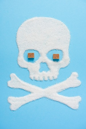 The skull made of sugar with eyes made of brown sugar cubes on blue blue background. Diabetes concept. Sugar Kills. Dieting concept. Unhealthy white sugar concept. Copy space. Space for text.