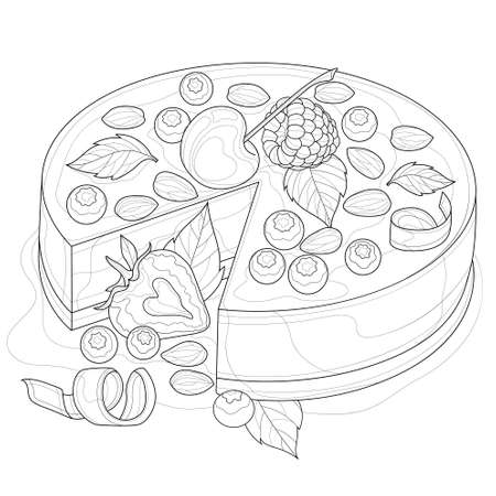 Cake with cherries, strawberries, raspberries, almonds, blueberries and mint. Tasty sweets. Coloring book antistress for children and adults. Zen-tangle style. Black and white drawing Illustration