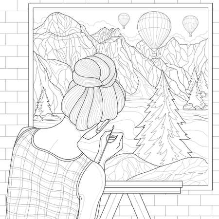 Girl artist paints a landscape on canvas: mountains, balloons and a lake. Illustration isolated on white background. Outline style.