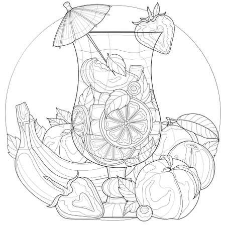 Cocktail with fruits and an umbrella. Orange, lemon, mint, peach, bananas, strawberries, blueberries. Sweets. Coloring book antistress for children and adults. Black and white drawing.