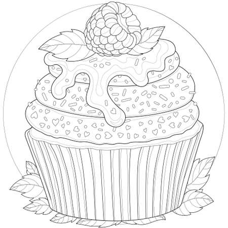 Delicious cupcake with raspberries, chocolate, mint and powder. Tasty dessert. Coloring book antistress for children and adults. Outline style. Black and white drawing