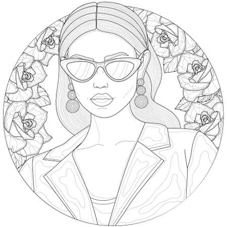 Girl in a jacket and glasses. With earrings in the ears. Roses on the background.Coloring book antistress for children and adults. Illustration isolated on white background.Zen-tangle style. Illustration