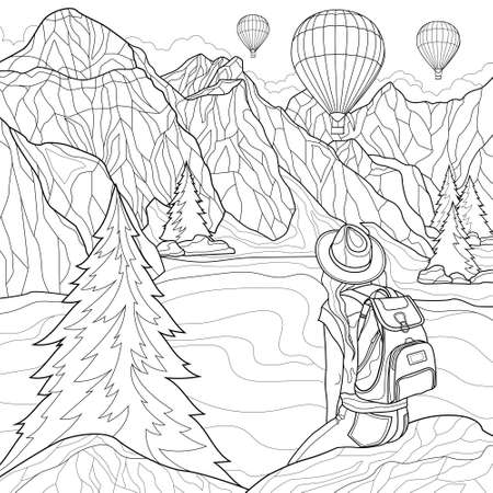 Beautiful landscape. A girl sits on a stone and looks at the mountains, the lake and balloons. Coloring book antistress for children and adults. Illustration