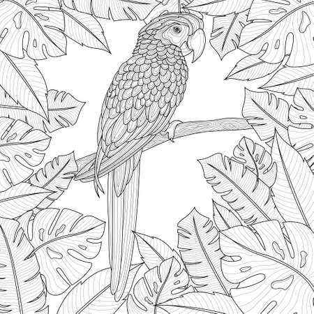 A parrot sits on a branch around tropical leaves.Coloring book antistress for children and adults. Zen-tangle style. Black and white drawing