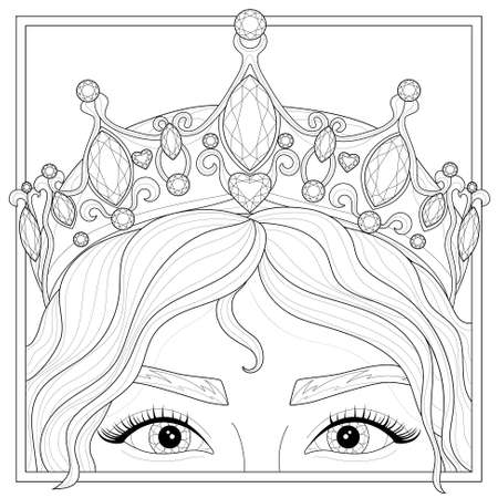 Girl in the crown. Princess.Coloring book antistress for children and adults. Illustration isolated on white background.Zen-tangle style.Black and white drawing Illustration