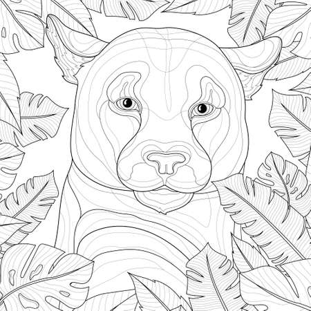 Puma among tropical leaves. Animal.Coloring book antistress for children and adults. Zen-tangle style.Black and white drawing