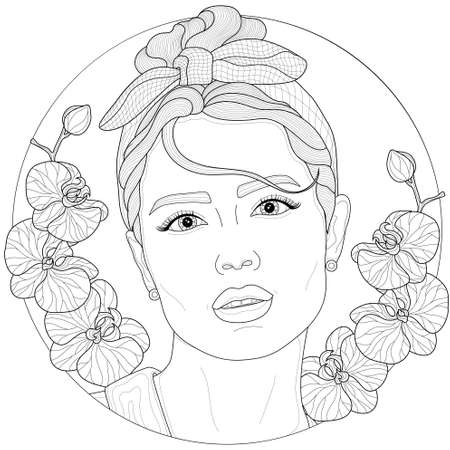 Girl with a rim on her head and orchids around.Coloring book antistress for children and adults. Illustration isolated on white background.Zen-tangle style.Black and white drawing.