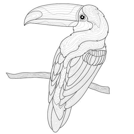 Toucan on a branch. Bird.Coloring book antistress for children and adults. Zen-tangle style.Black and white drawing