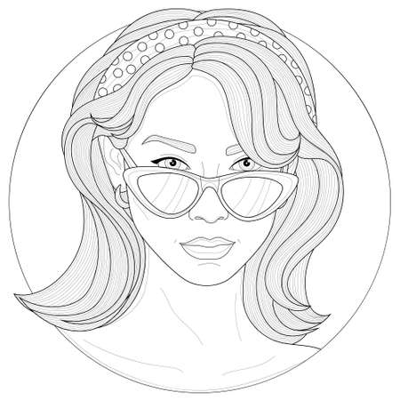 Beautiful girl with glasses, earrings and a hair band.Coloring book anti stress for children and adults.