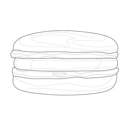 macaroon.Tasty sweets.Coloring book antistress for children and adults. Zen-tangle style.Black and white drawing
