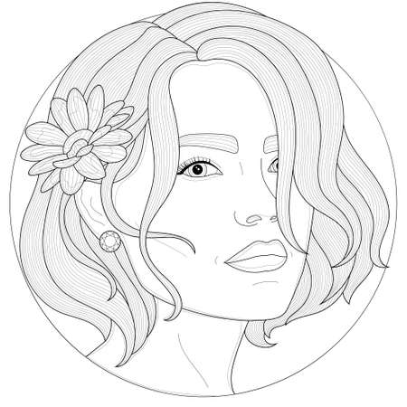Girl with a camomile behind her ear.Coloring book antistress for children and adults. Illustration isolated on white background.Black and white drawing.Zen-tangle style.