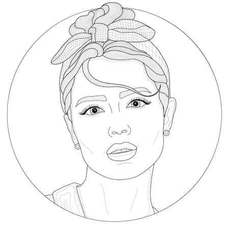 Girl with a headband.Coloring book antistress for children and adults. Illustration isolated on white background.Zen-tangle and doodle style. Black and white drawing