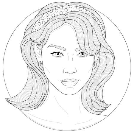 Beautiful girl with a hair band and earrings.Coloring book antistress for children and adults. Illustration isolated on white background.Black and white drawing.Zen-tangle style.