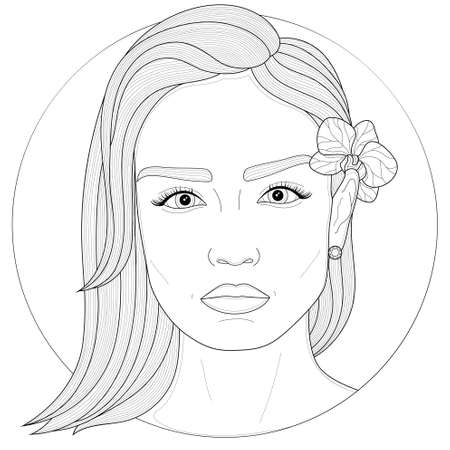 Girl with an orchid behind her ear.Coloring book antistress for children and adults. Illustration isolated on white background.Zen-tangle and doodle style. Black and white drawing