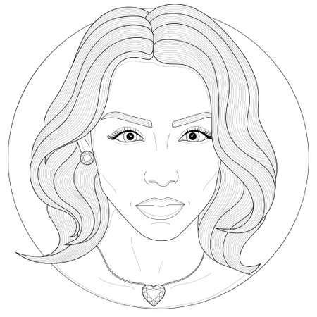 Girl with an earring and a pendant.Coloring book antistress for children and adults. Illustration isolated on white background.Zen-tangle style.Black and white drawing. Vettoriali