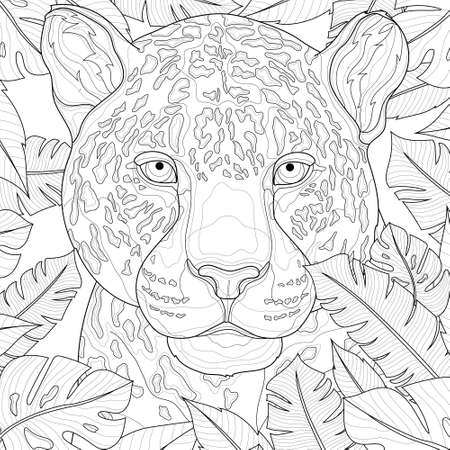 Leopard among tropical leaves. Animal.Coloring book antistress for children and adults. Illustration isolated on white background.Black and white drawing.Zen-tangle style.