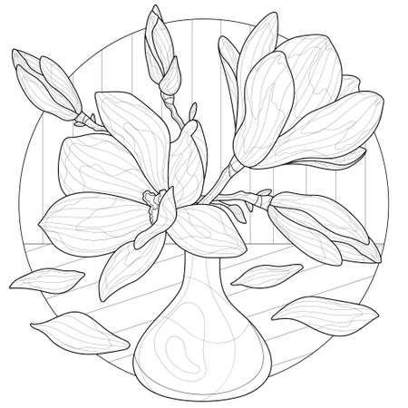 Magnolias in a vase.Coloring book antistress for children and adults. Zen-tangle style.Black and white drawing