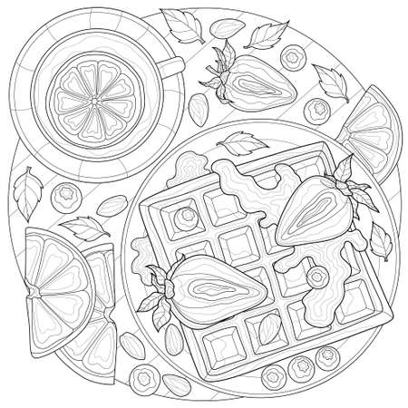 Vienna waffle with strawberries, blueberries, almonds and mint. Tea.Coloring book antistress for children and adults. Illustration isolated on white background.Black and white drawing.Zen-tan