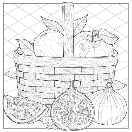 Fruit in a basket. Figs, apples and pear. Coloring book antistress for children and adults. Zen-tangle style.Black and white drawing 向量圖像