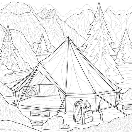 Camping. Tent in the mountains.Landscape.Coloring book antistress for children and adults. Illustration isolated on white background.Black and white drawing.Zen-tangle style.