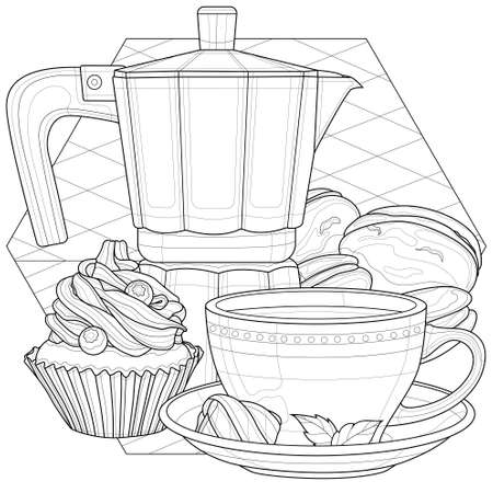 Coffee maker, cup and desserts. Coloring book antistress for children and adults. Illustration isolated on white background.Black and white drawing.Zen-tangle style.