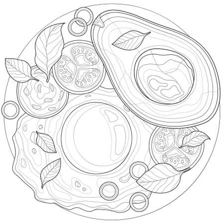 Breakfast. Egg with avocado, sausage and tomato. Coloring book antistress for children and adults. Zen-tangle style.Black and white drawing 矢量图像