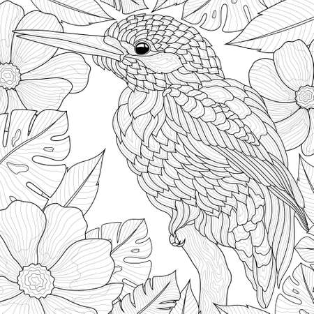 The bird sits on a branch among flowers and leaves. Coloring book antistress for children and adults. Illustration isolated on white background.Black and white drawing.Zen-tangle style.