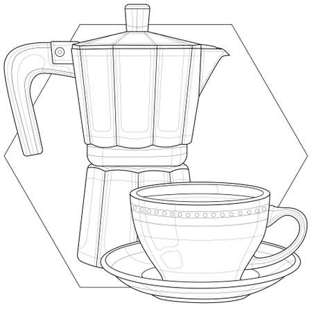 Cup of coffee and coffee maker.Coloring book antistress for children and adults. Illustration isolated on white background.Black and white drawing.Zen-tangle style.