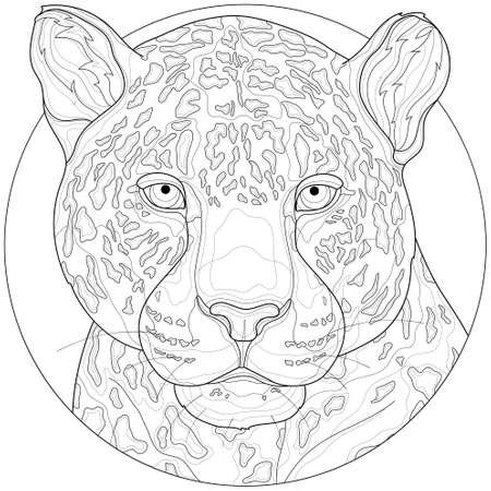 Leopard . Animal.Coloring book antistress for children and adults. Illustration isolated on white background.Black and white drawing.Zen-tangle style. Stock Illustratie