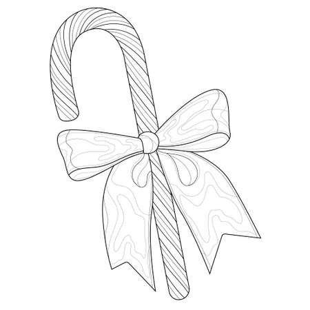 Christmas candy with bow. Candy cane. Coloring book antistress for children and adults.Zen-tangle style.Black and white drawing