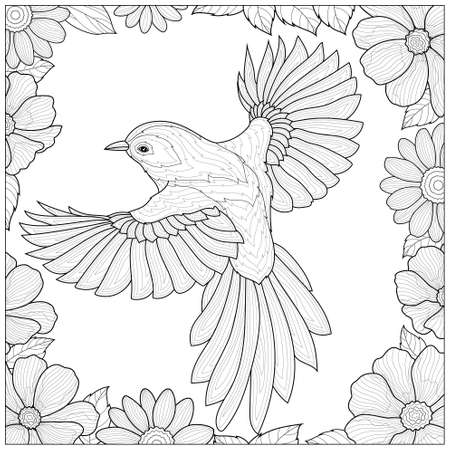 Bird in a frame with flowers.Coloring book antistress for children and adults. Illustration isolated on white background.Black and white drawing.Zen-tangle style. Ilustração