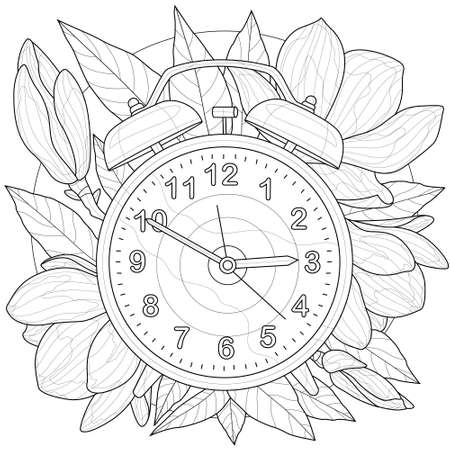 Alarm clock.Coloring book antistress for children and adults. Illustration isolated on white background.Zen-tangle style. Ilustração
