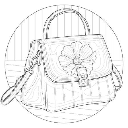 Bag with flower.Coloring book antistress for children and adults.Zen-tangle style.Black and white drawing