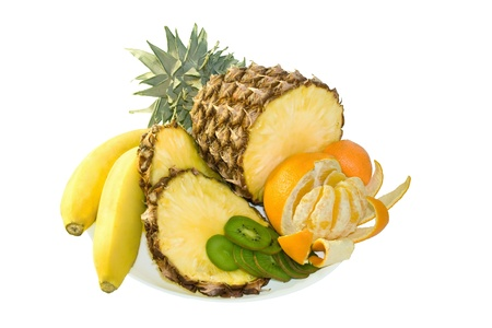 mandarins: Group of fresh fruits on white background