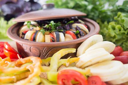 Mediterranean cuisine ratatouille from vegetables fresh and vitamin. Useful vegetarian food