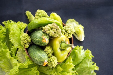 frash green vegetables on a dark background: cucumbers, broccoli, pepper and lettuce Stock Photo