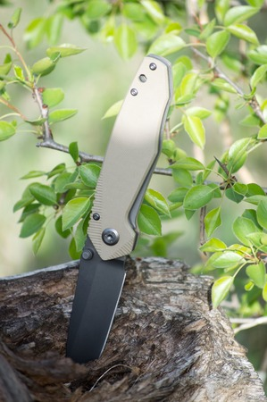 folding travel knife made of stainless steel with black blade an Stock Photo