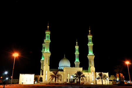 ajman: Night view on the Mosque in Ajman city, UAE